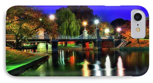 Boston Public Garden In Autumn At Night IPhone Case