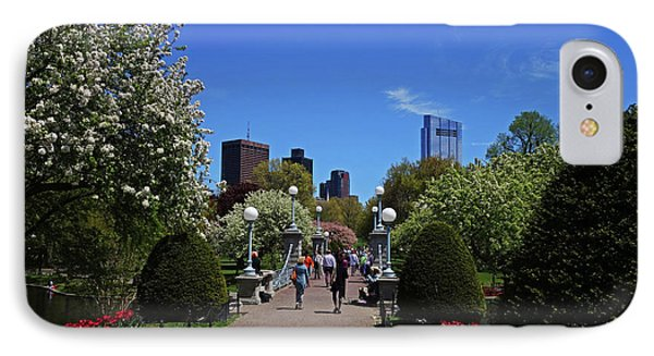 Boston Public Garden Spring Tree Bridge Boston Ma IPhone Case by Toby McGuire