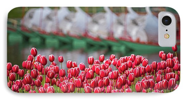Boston Public Garden Spring Tulips And Swan Boats IPhone Case