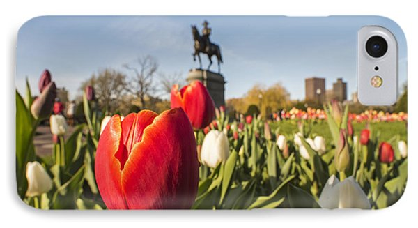 Boston Public Garden Tulips And George Washington Statue IPhone Case by Toby McGuire