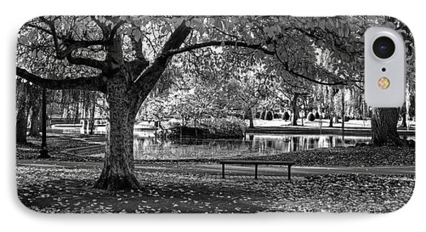Boston Public Garden Yellow Autumn Tree Boston Ma Black And White IPhone Case by Toby McGuire