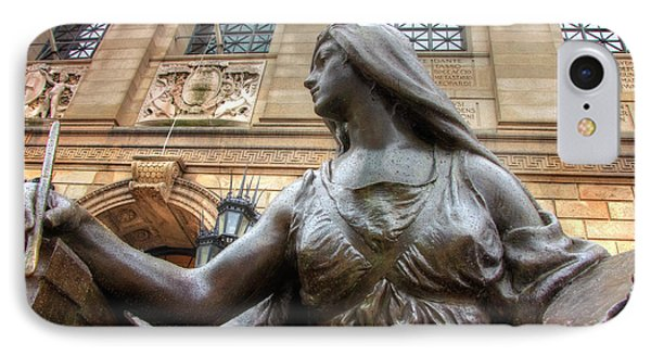 IPhone Case featuring the photograph Boston Public Library Lady Sculpture by Joann Vitali
