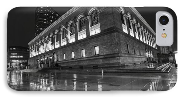 Boston Public Library Rainy Night Boston Ma Black And White IPhone Case by Toby McGuire