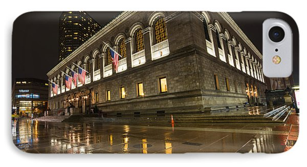 Boston Public Library Rainy Night Boston Ma IPhone Case by Toby McGuire