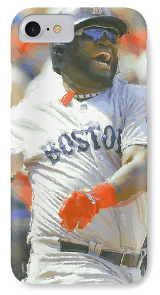 Boston Red Sox David Ortiz 3 IPhone Case by Joe Hamilton