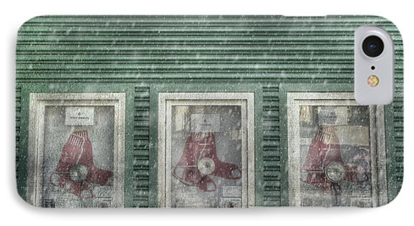 IPhone Case featuring the photograph Boston Red Sox Fenway Park Ticket Booth In Winter by Joann Vitali