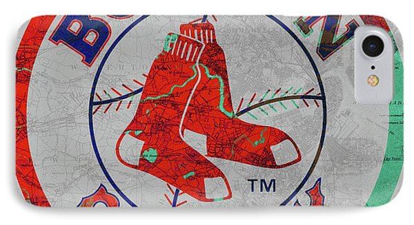 Boston Red Sox Logo On Old Boston Map IPhone Case by Pablo Franchi