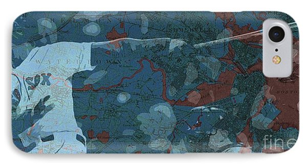 Boston Red Sox Player On Boston Harbor Map, Vintage Blue IPhone Case by Pablo Franchi