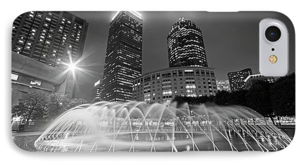 Boston Reflecting Pool Fountain Boston Ma Black And White IPhone Case by Toby McGuire