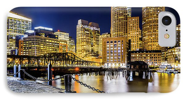 Boston Skyline And Boston Harbor At Night Photo IPhone Case by Paul Velgos