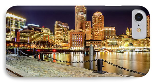 Boston Skyline At Night And Harborwalk Picture IPhone Case by Paul Velgos