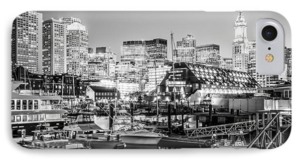 Boston Skyline At Night Black And White Photo IPhone Case by Paul Velgos