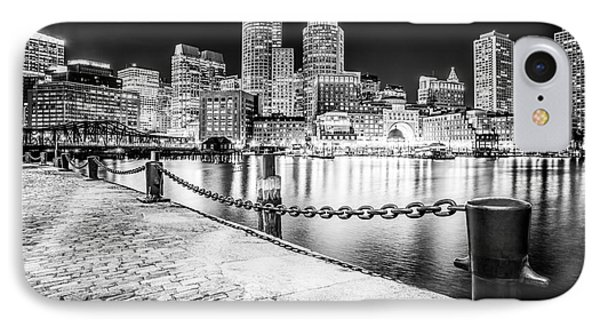 Boston Skyline At Night Black And White Picture IPhone Case by Paul Velgos