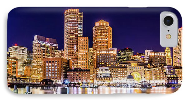 Boston Skyline At Night Panorama Picture IPhone Case by Paul Velgos