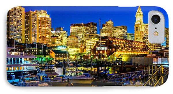 Boston Skyline At Night IPhone Case by Paul Velgos