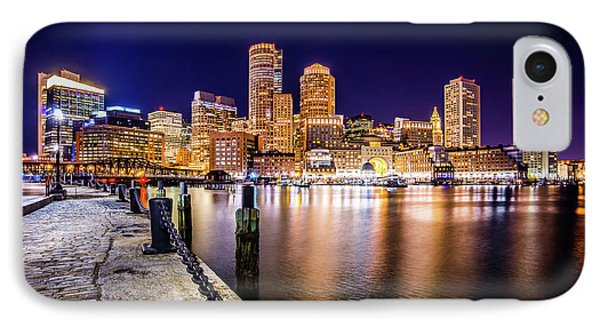 Boston Skyline At Night Picture IPhone Case by Paul Velgos
