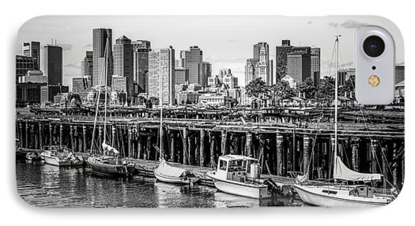 Boston Skyline At Piers Park Black And White Photo IPhone Case by Paul Velgos