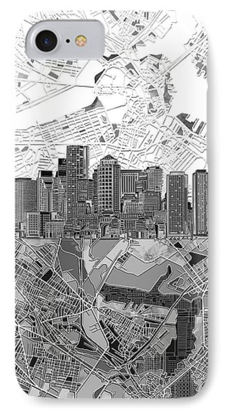 Boston Skyline Black And White 3 IPhone Case by Bekim Art