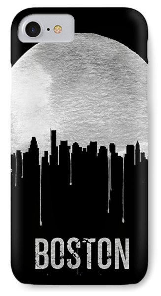 Boston Skyline Black IPhone Case by Naxart Studio