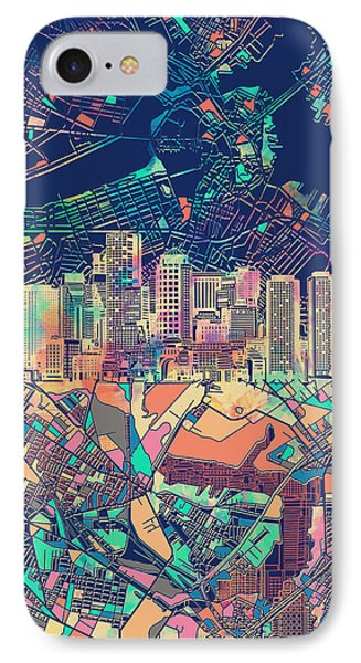 Boston Skyline Blue IPhone Case by Bekim Art
