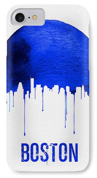 Boston Skyline Blue IPhone Case by Naxart Studio