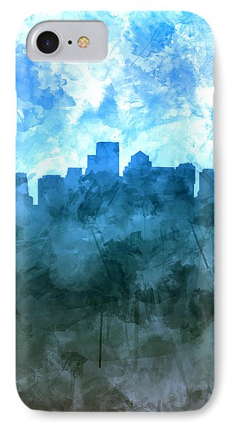 Boston Skyline Blue Watercolor 2 IPhone Case