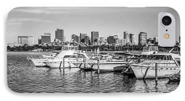 Boston Skyline Boats Black And White Photo IPhone Case by Paul Velgos
