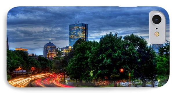 Boston Skyline From Storrow Drive At Night IPhone Case by Joann Vitali