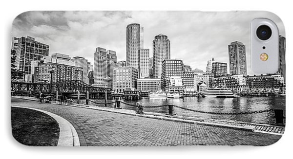 Boston Skyline Harborwalk Black And White Picture IPhone Case by Paul Velgos