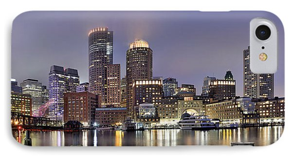 Boston Skyline Panorama IPhone Case by Brendan Reals