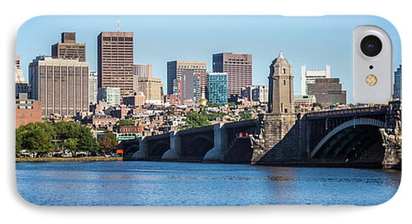 Boston Skyline Panorama With Longfellow Bridge IPhone Case by Paul Velgos