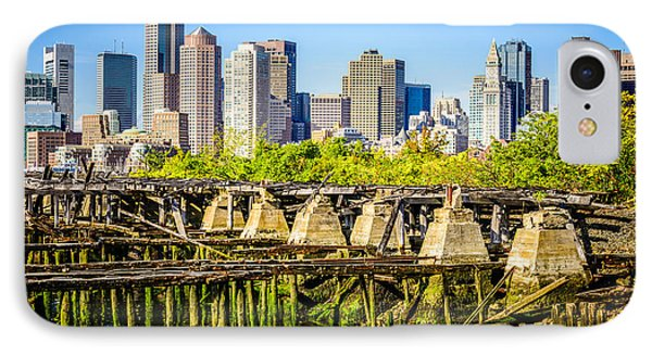 Boston Skyline Picture With Old Ruined Pier IPhone Case by Paul Velgos