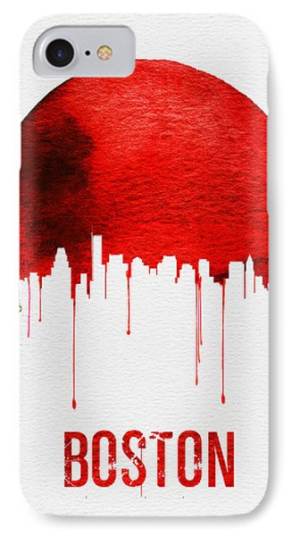 Boston Skyline Red IPhone Case by Naxart Studio