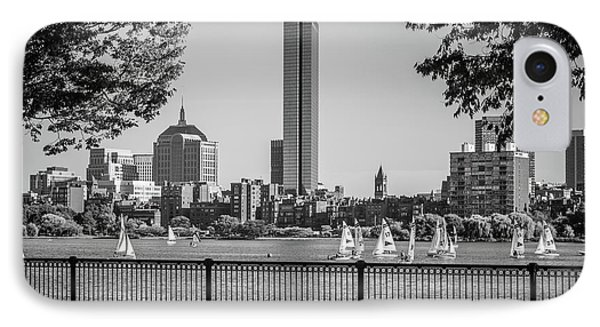 Boston Skyline Sailboats Black And White Photo IPhone Case