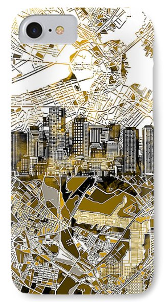 Boston Skyline Sepia IPhone Case by Bekim Art