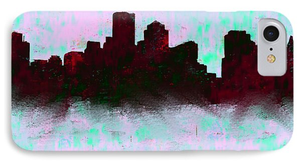 Boston Skyline Sky Blue  IPhone Case by Enki Art