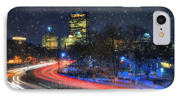 Boston Skyline - Snowing On Storrow Drive IPhone Case by Joann Vitali