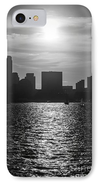 Boston Skyline Sunset Black And White Picture IPhone Case by Paul Velgos