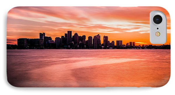 Boston Skyline Sunset Colorful Orange Sky IPhone Case by Paul Velgos