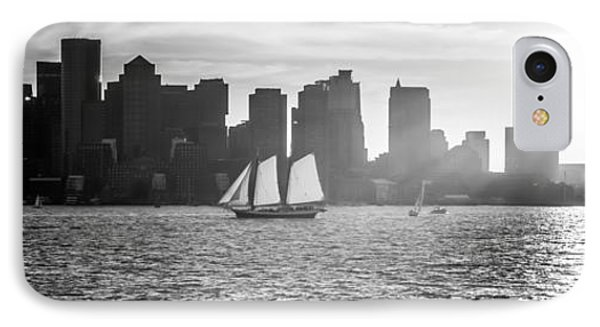 Boston Skyline Sunset Panoramic Black And White Photo IPhone Case by Paul Velgos