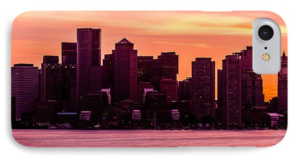 Boston Skyline Sunset Panoramic Photo IPhone Case by Paul Velgos