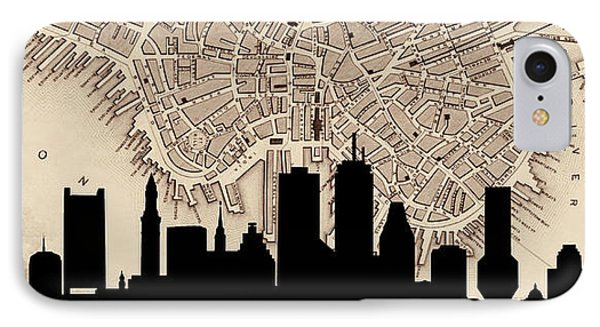 Boston Skyline Vintage IPhone Case by Andrew Fare