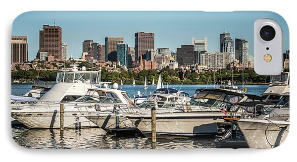 Boston Skyline With Boats Photo IPhone Case by Paul Velgos