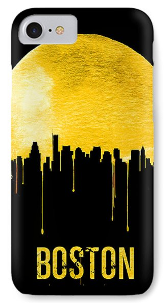 Boston Skyline Yellow IPhone Case by Naxart Studio