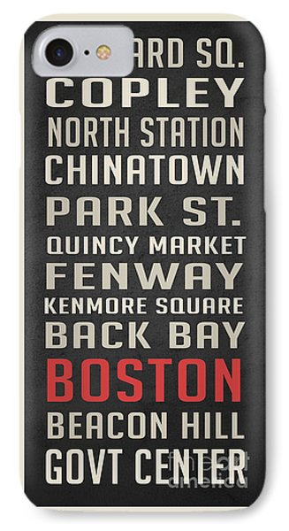 Boston Subway Stops Poster IPhone Case by Edward Fielding