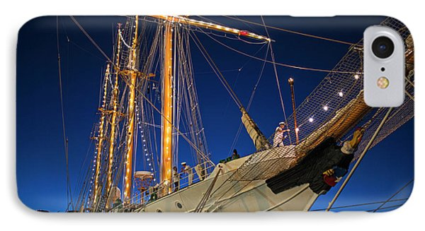 Boston Tall Ship Flags Boston Ma Sailors Blue Sky IPhone Case by Toby McGuire