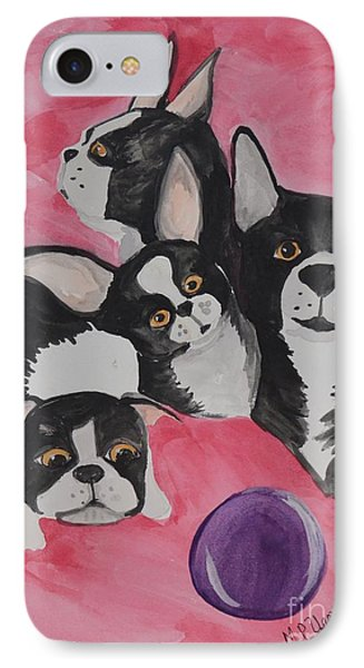 Boston Terrier Family IPhone Case by Maria Urso