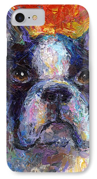 Boston Terrier Impressionistic Portrait Painting IPhone Case by Svetlana Novikova