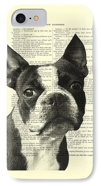 Boston Terrier Portrait In Black And White IPhone Case