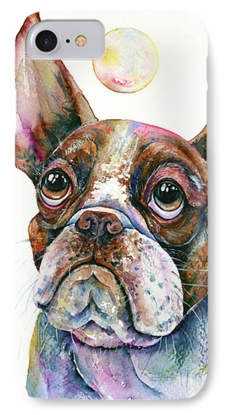 IPhone Case featuring the painting Boston Terrier Watching A Soap Bubble by Zaira Dzhaubaeva